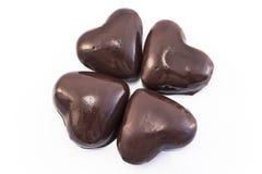 Hjärtapepparkakakakor glasade choklad arkivfoto