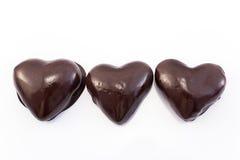 Hjärtapepparkakakakor glasade choklad arkivbilder