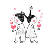 HjärtaShape för par som röd förälskelse rymmer händer som drar den enkla linjen Arkivbild