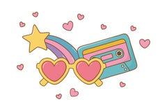 Hjärtasolglasögon kassett och skyttestjärna royaltyfri illustrationer