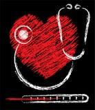 hjärtastetoskoptermometer Fotografering för Bildbyråer