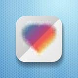 Hjärtasymbol med sänkt pappers- textur Arkivfoto