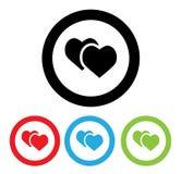Hjärtasymbol med tecknade filmen för fyra färgvariationer Arkivfoton