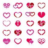 Hjärtasymbolsuppsättning Arkivfoto