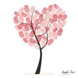 Hjärtaträd med fingeravtryckvektorn Arkivbild