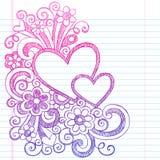 Hjärtavalentin illustration för vektor för klotter för dag knapphändig vektor illustrationer