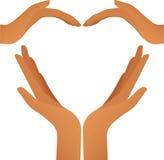 hjärtavektor för fyra händer stock illustrationer