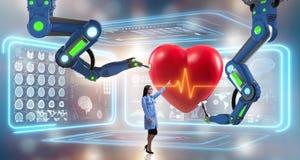 Hjärtkirurgin som göras av den robotic armen Arkivbild