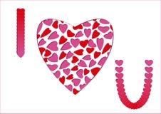hjärtor älskar jag rosa red för meddelande dig Royaltyfri Fotografi