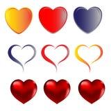 Hjärtor älskar röda guld- blått vektor illustrationer