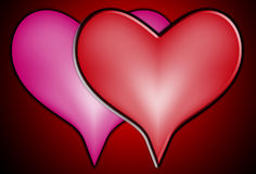 hjärtor älskar tillsammans två royaltyfri illustrationer
