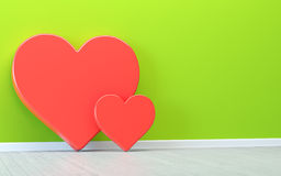 Hjärtor över den gröna väggen Royaltyfri Fotografi