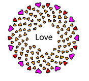 Hjärtor av förälskelse och kamratskap på en vit bakgrund Arkivfoto