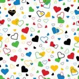 Hjärtor av fem färger. Sömlös prydnad eller backgr Stock Illustrationer