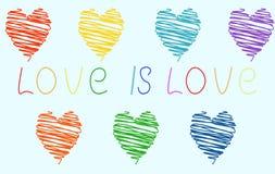 Hjärtor av olika färger av regnbågen på ett ljust - blå bakgrund och inskriftförälskelsen Symbol LGBT vektor illustrationer