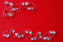 Hjärtor av papper som quilling för valentin dag Royaltyfri Bild