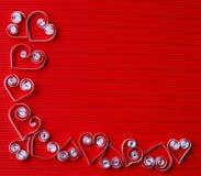 Hjärtor av papper som quilling för valentin dag Fotografering för Bildbyråer