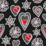 Hjärtor av snöflingamodellen stock illustrationer