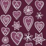 Hjärtor av snöflingamodellen royaltyfri illustrationer