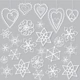 Hjärtor av snöflingor vektor illustrationer
