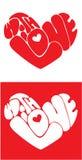 Hjärtor bildas från med förälskelsetext Arkivbilder