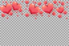 hjärtor 3D som ram på genomskinlig bakgrund för valentins kort för daghälsning, semestrar affischen, banret, inbjudan, försäljnin royaltyfri illustrationer