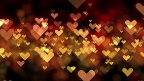 Hjärtor för bakgrund för dag för valentin` s guld- av abstrakt begrepp stock video