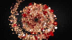 Hjärtor för bakgrund för förälskelse för dag för valentin` s loopable röda, perfekt bakgrund för rund roterande spiral för lovers vektor illustrationer