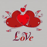 Hjärtor för design Valentindag, förälskelsemeddelande Arkivfoto