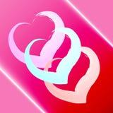Hjärtor för vattenfärg tre på en röd bakgrund royaltyfria foton