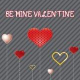 Hjärtor för whit för valentindagkort. Arkivbild