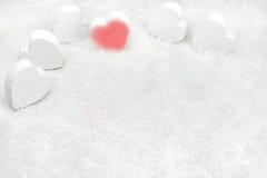 Hjärtor i snowen royaltyfri fotografi