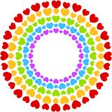 Hjärtor inramar den färgrika regnbågen för partiet