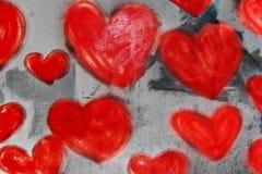 hjärtor målad vägg Arkivbilder