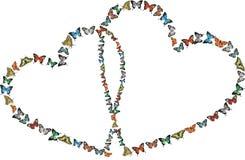 Hjärtor med fjärilar över vit Arkivbild