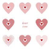 Hjärtor med olika texturer - 8 hjärtor Fotografering för Bildbyråer