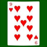 hjärtor nio Card dräktsymbolsvektorn som spelar kortsymbolvektorn royaltyfri illustrationer