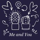 Hjärtor och kaktus Gulliga förälskelse- eller kamratskapkaktuspar på valentinklotterkort med affektionhjärtor i den vita linjen stock illustrationer