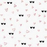 Hjärtor och sömlös modell för pilbågar Vektor Illustrationer