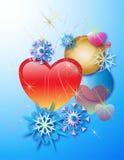 Hjärtor och snöflingor Fotografering för Bildbyråer