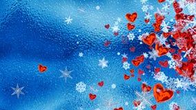 Hjärtor och snöflingor som ett symbol av romantisk förälskelse Arkivfoton