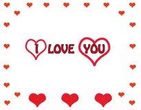 Hjärtor och text älskar jag dig Stock Illustrationer