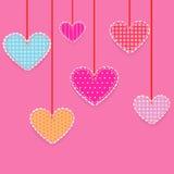 Hjärtor patchwork Arkivfoto