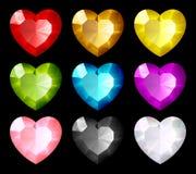 hjärtor pryder med ädelsten den set vektorn Arkivbilder