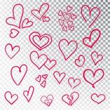 Hjärtor räcker den isolerade utdragna uppsättningen Designbeståndsdelar för dag för valentin s Samlingen av klottret skissar hjär royaltyfria bilder
