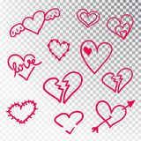 Hjärtor räcker den isolerade utdragna uppsättningen Designbeståndsdelar för dag för valentin s Samlingen av klottret skissar hjär arkivbild