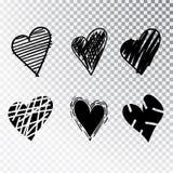 Hjärtor räcker den isolerade utdragna uppsättningen Designbeståndsdelar för dag för valentin s Samlingen av klottret skissar hjär royaltyfri fotografi