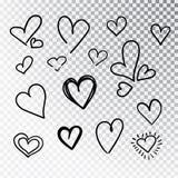 Hjärtor räcker den isolerade utdragna uppsättningen Designbeståndsdelar för dag för valentin s Samlingen av klottret skissar hjär arkivfoto