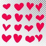 Hjärtor räcker den isolerade utdragna uppsättningen Designbeståndsdelar för dag för valentin s Samlingen av klottret skissar hjär arkivbilder