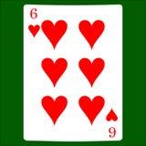 hjärtor sex Card dräktsymbolsvektorn som spelar kortsymbolvektorn stock illustrationer